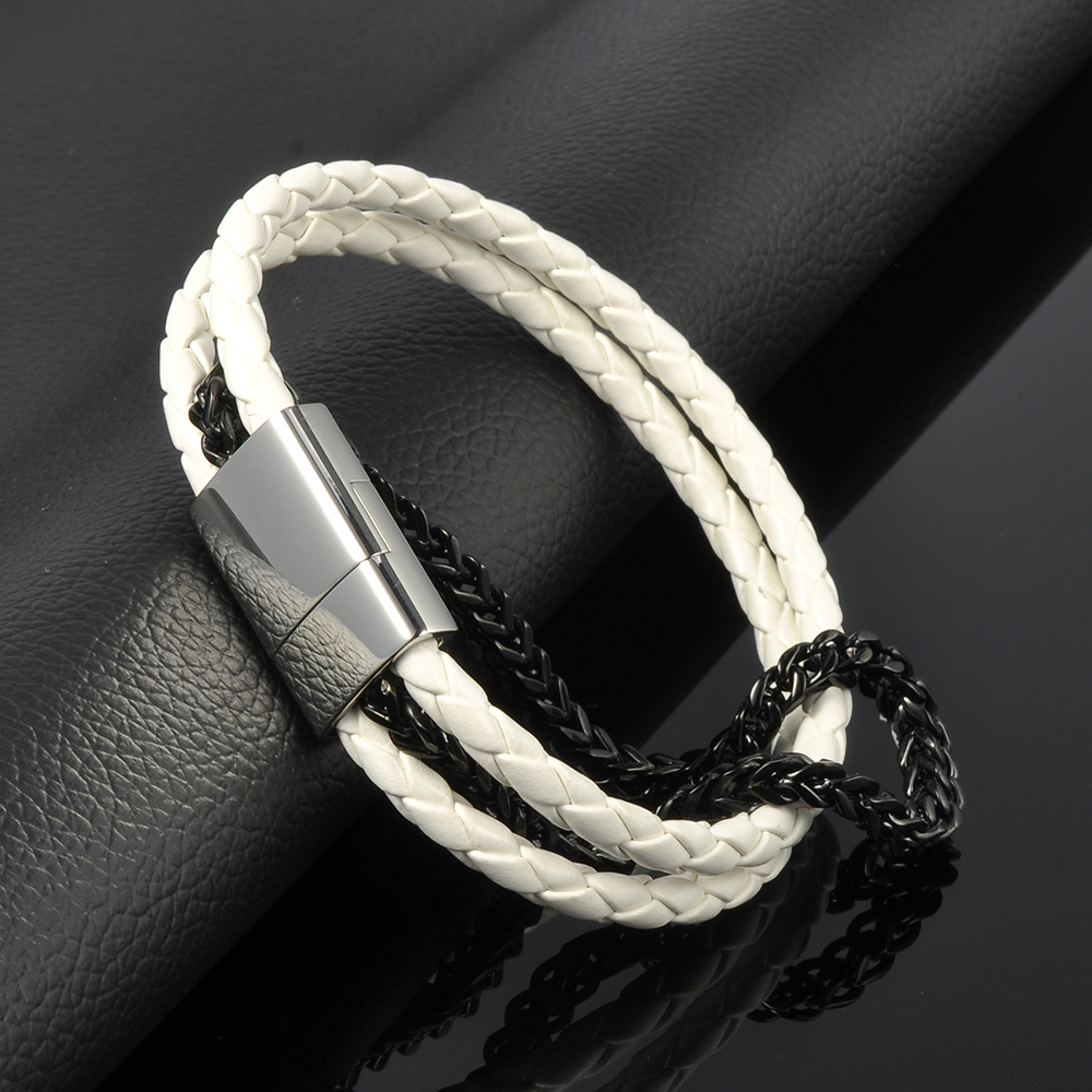 Hot Sale Stainless Steel Punk Magnetic Clasp Men's Leather Bangle Wristband Bracelet For Men