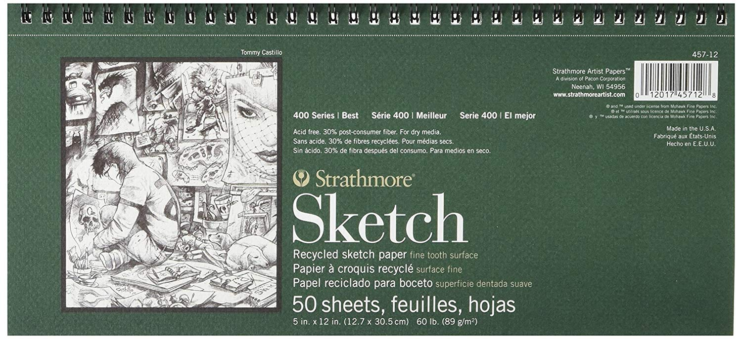"""Strathmore 457-12 400 Series Recycled Sketch Pad, 5""""x12"""" Wire Bound, 50 Sheets"""