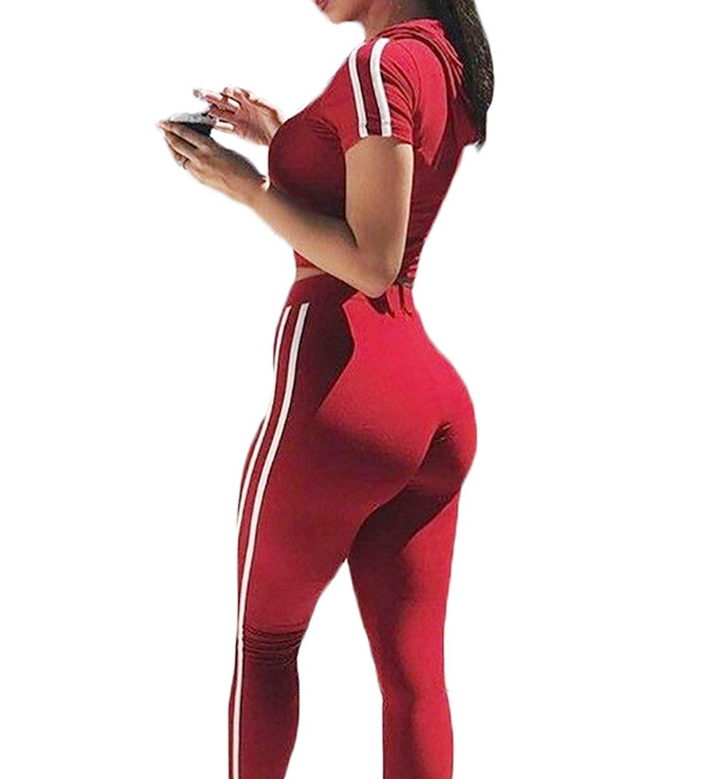 MMIRAG Women Casual Sport Bodycon Short Sleeve Two Piece Tracksuit Crop Top Hoodie Long Skinny Pants Set