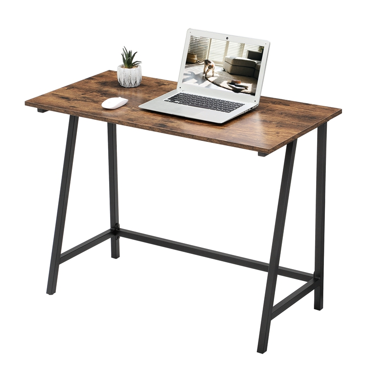 VASAGLE Home Furniture Space Saving Industrial Writing Table Wood Top Metal Legs PC Office Computer Desk