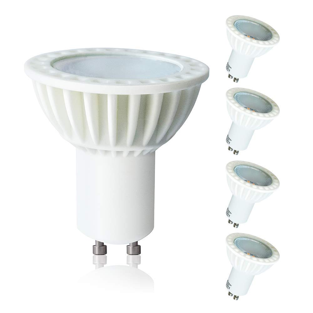 Lampaous GU10 LED Light Bulbs,5W 450lm Daylight Lights,Spotlight Bulb,50W Halogen Equivalent,3000K Warm White,Recessed Light Fixture Downlight,Home Household Indoor Lighting,Pack of 4