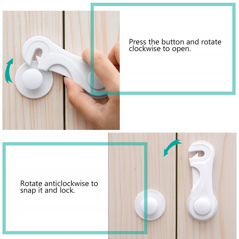 NEW ARRIVAL Children Drawer ABS Lock Baby Safety Lock Adhesive Door Cupboard Cabinet Fridge Drawer Safety Locks Strap