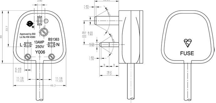 uk assembled fused power plug  rewireable fuse plug uk
