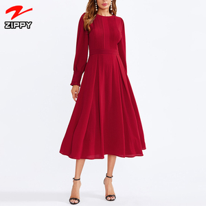 Women Long Sleeve Going Out Dress Office Ladies Round Neck Women Autumn Elegant Dresses