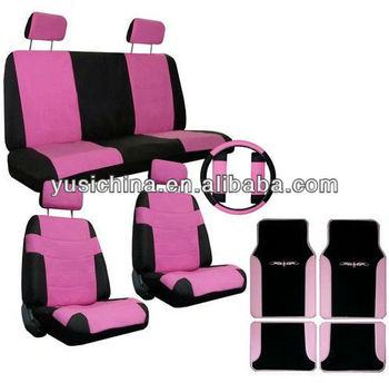 Pink Black Car Seat Covers Steering Wheel Cover Pink Floor Mats