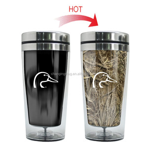 The new office hot tea double insulated metal cup