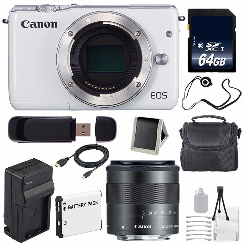 Canon EOS M10 Mirrorless Digital Camera Body Only (White) (International Model No Warranty) + 64GB SDXC Class 10 Memory Card 6AVE Bundle 57