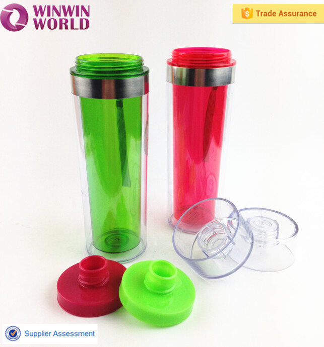 Sport Drinking Insulated Clear Plastic Double Wall Mug