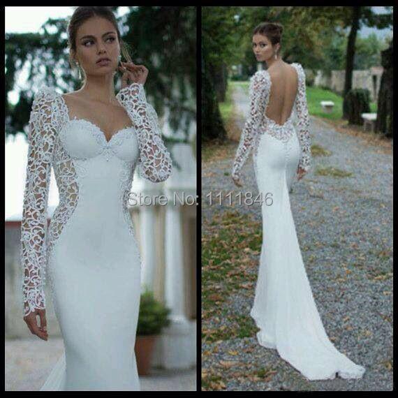 Designer Slim Mermaid Lace Long Sleeves Wedding Dress ...