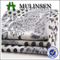 Mulinsen Textile Weft Knit Polyester Spandex 2 Way Stretch Leopard Printed Suede Fabric