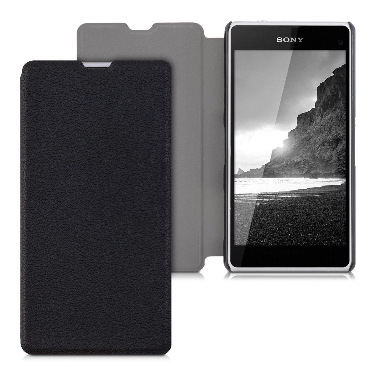 11914afb919 Get Quotations · kwmobile Flip Cover for > Sony Xperia Z1 Compact < with  stand - Hinged leatherette cover