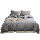 Solid color french linen stoned washed bedding set customized size and colors
