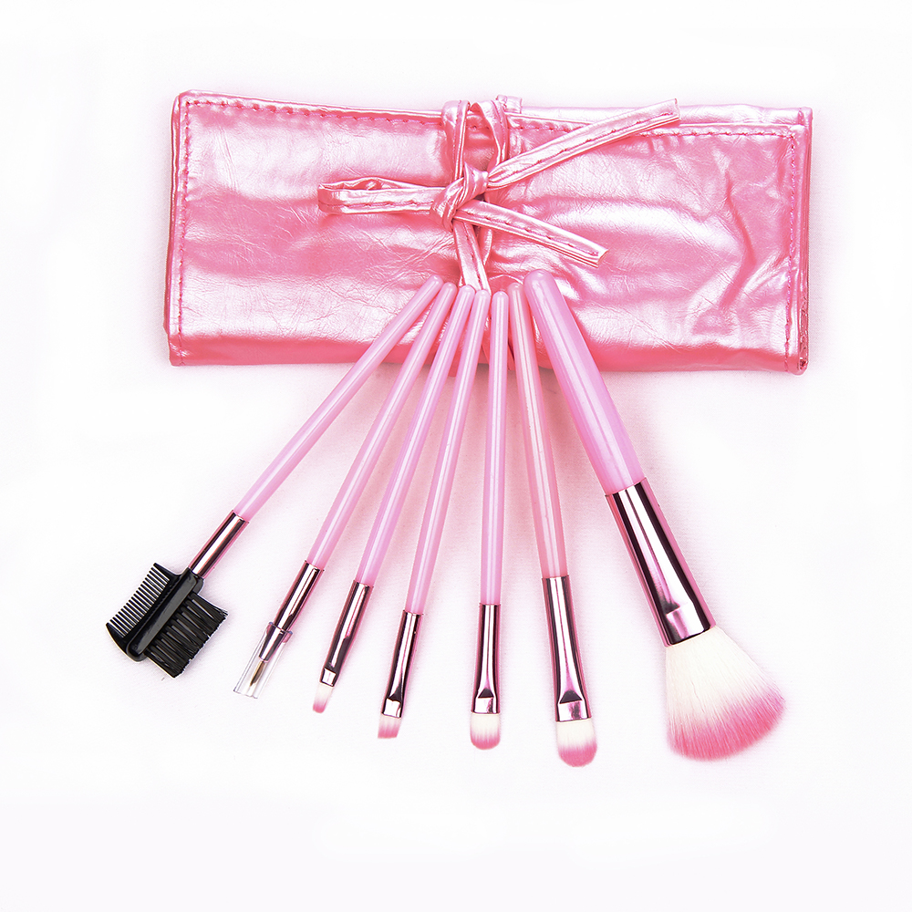 Portable 7pcs makeup brush set PU bag make up brushes eyeshadow pink gold brush makeup