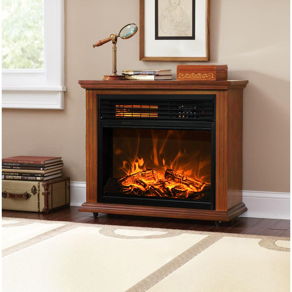 Get Quotations · XtremepowerUS Infrared Quartz Electric Fireplace Heater  Oak Finish With Remote Controller