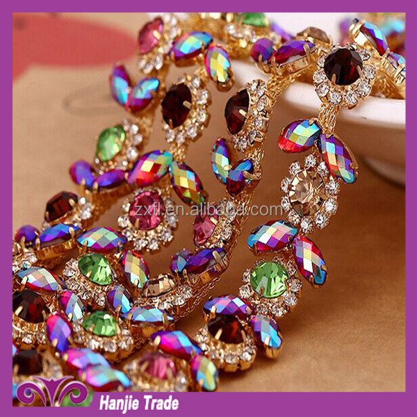 Rhinestone chain good quality with color AB stone for garment decoration