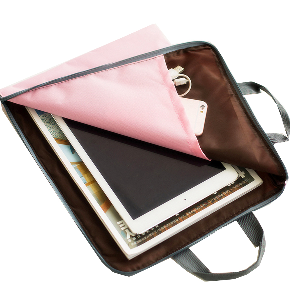 A4 Multilayer Portable Zipper File Pocket Student Papers Briefcase-Gray