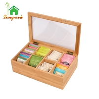 8 Compartment Custom Bamboo Tea Storage Box with Hinged Lid and glass Window