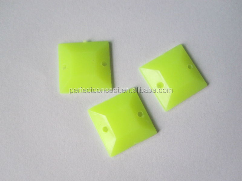 wholesale 12*12mm opaque neon yellow pink flat back square acrylic stones for bags clothes