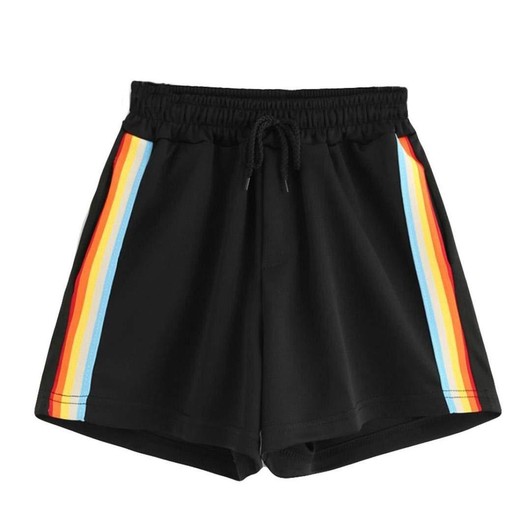 SUKEQ Women's Casual Summer Rainbow Shorts Mid Waist Loose Drawstring Ringer Yoga Workout Shorts Tracker Pants
