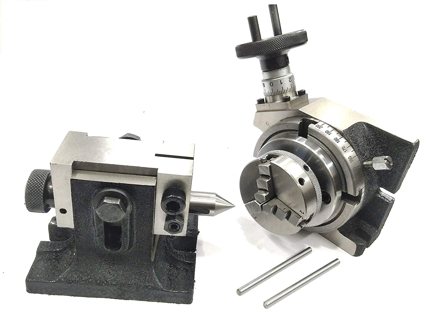 "ROTARY TABLE 4/"" TILTING SINGLE BOLT TAILSTOCK 100 MM SELF CENTERING CHUCK"