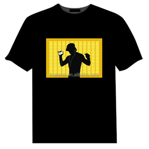 EL flash panel T-shirt fashion sound music LED Dancing t-shirt