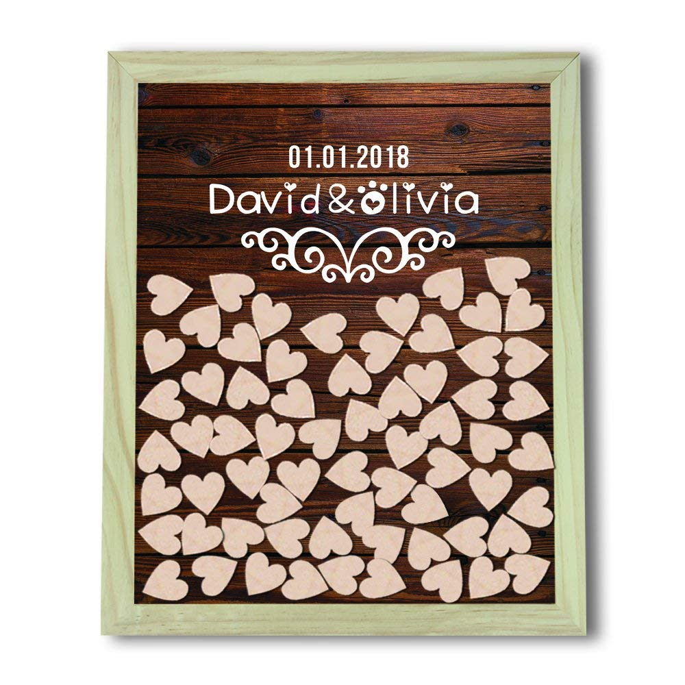 Tamengi Wedding Guest Book Alternative Wood Guestbook, Engraved Wedding Guest Book Drop Box, Custom 3D Guest Book Wedding, Bridal Shower Wedding Favor With 150Pcs Wooden Hearts