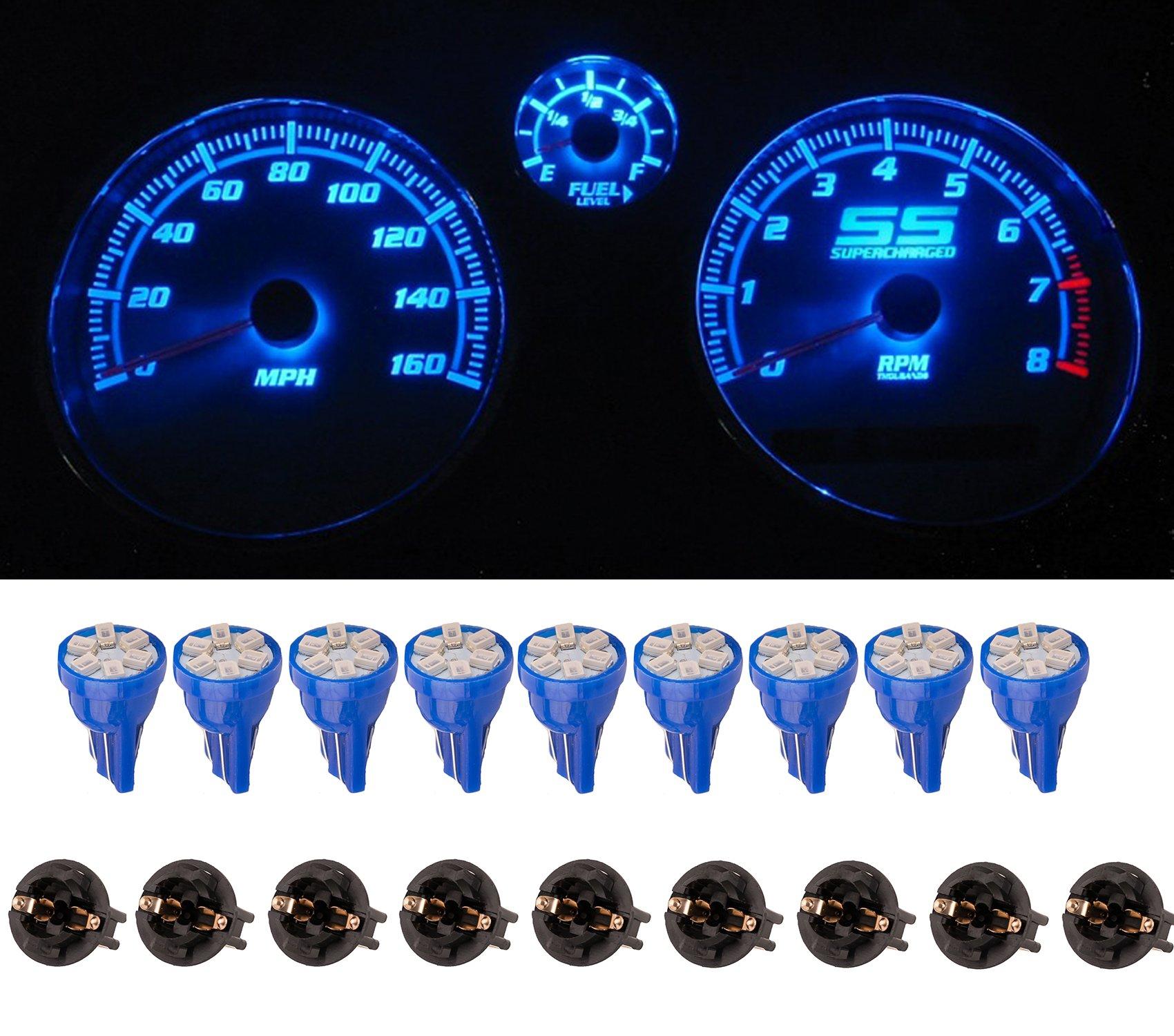 10X Blue Round Diode LED W//Socket T10 PC194 168 Instrument Dash Gauge Light Bulb