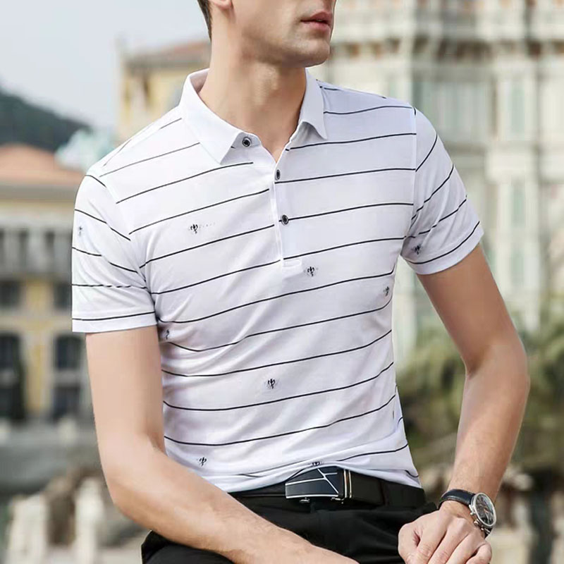 Silk Fashion Short Sleeve Striped Premium Custom Polo T Shirt Quality T Shirt