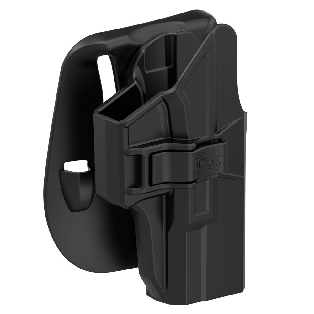 TEGE Glock 19 Holster, Tactical Outside Waistband Belt Paddle Holsters with Adjustable Retention Fast Draw for Glock 23 Glock 32, Right-Handed