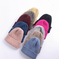 Good quality winter warm acrylic beanie hat wool felt folded beanie stripped parent child hat