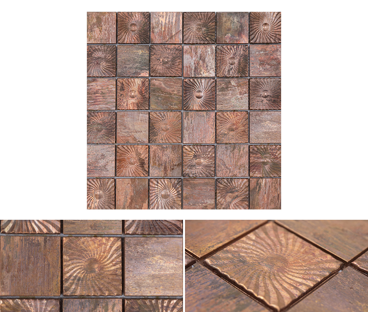 bathroom design luxury mosaic tiles new design interior wall decoration brushed metallic color square bronze metal mosaic tile