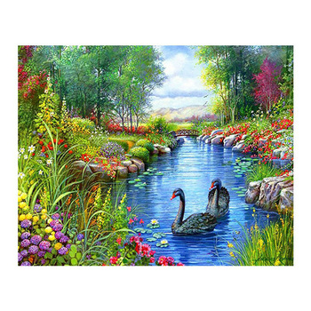 Beautiful green countryside scenery 5d diy diamond painting kits