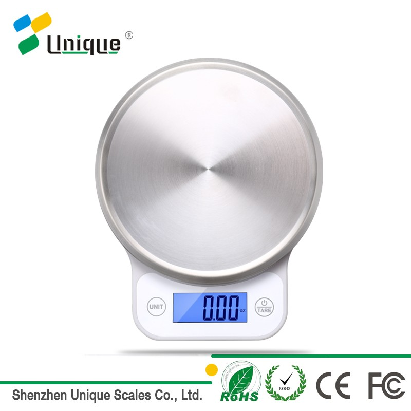 0zeri Mini 5KG/11LB Plastic&Stainless Steel Platform Backlit LCD Display Digital Electronic Food Weigh Scale Kitchen