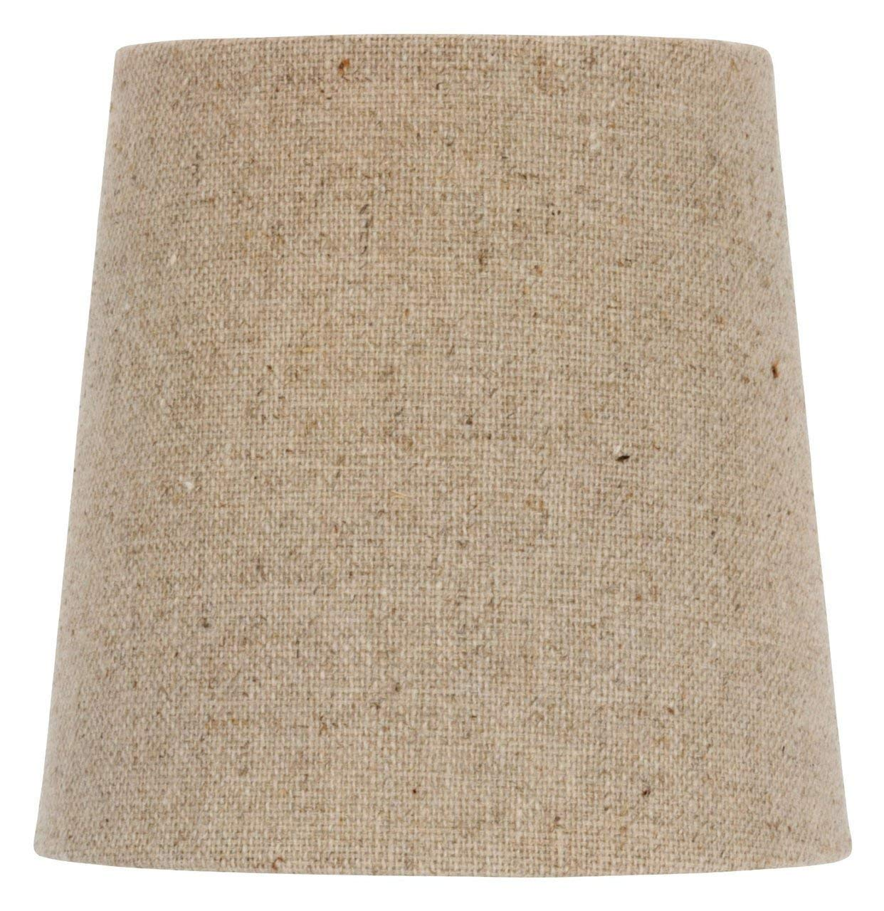 Upgradelights 4 Inch Retro Drum Clip On Chandelier Lamp Shade in Natural Burlap