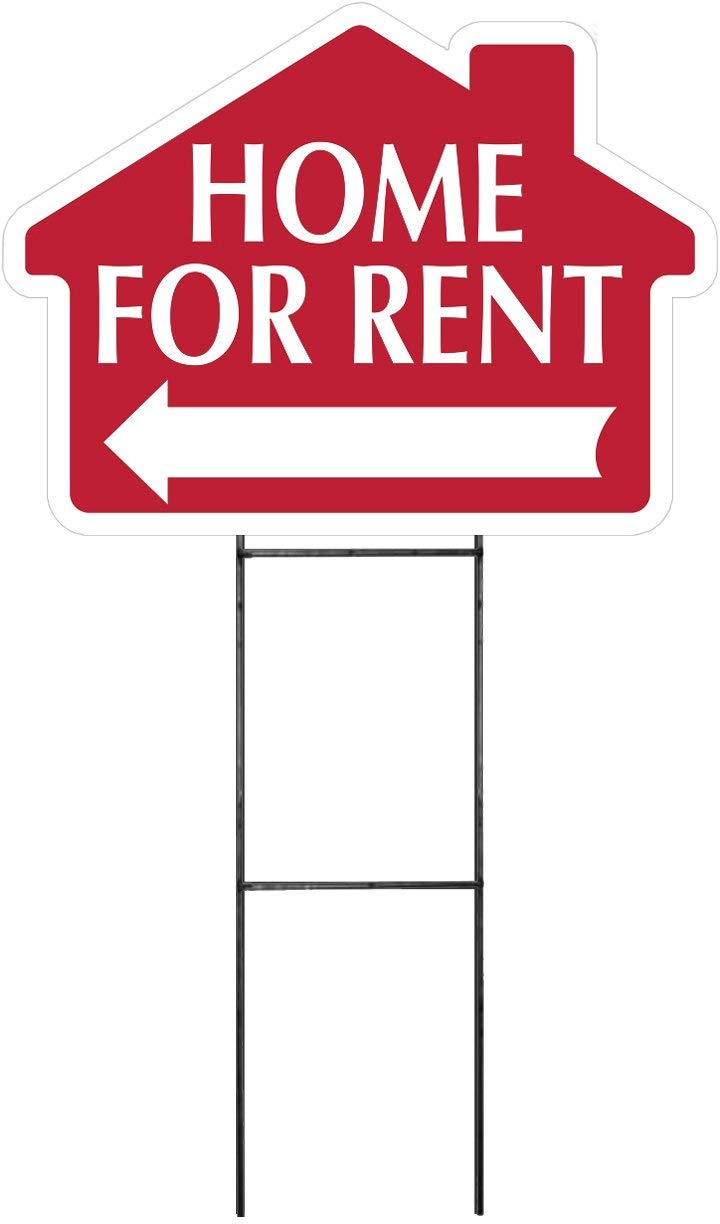 """HOME FOR RENT Sign with Arrow - House Shape Corrugated Sign INCLUDES 24"""" Sign Stake"""