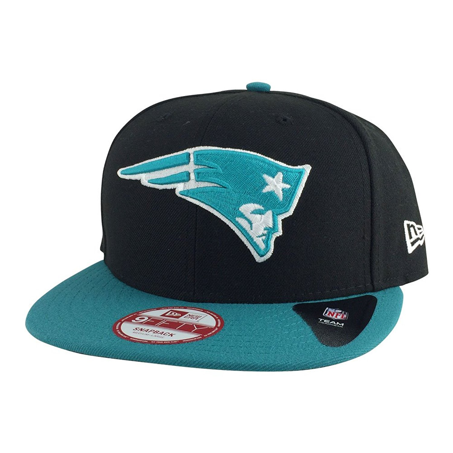 392c0b0bbc9 Get Quotations · New Era New England Patriots Baycik Black Teal Visor Snapback  Hat Cap