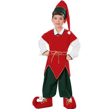 terciopelo nio duende lindo venta caliente grande chico traje grande disfraces de halloween para nios qbc