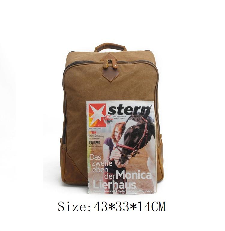Vintage high quality outdoor backpack canvas leather trim high school bagpack back pack bag for school