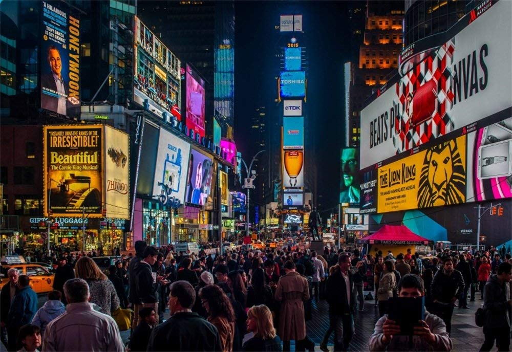 AOFOTO 5x3ft Times Square Background New York City Skyscraper Crowded People Night Billboard Street LED Signs Photography Backdrop Urban Buildings Photoshoot Studio Props Video Drape Wallpaper