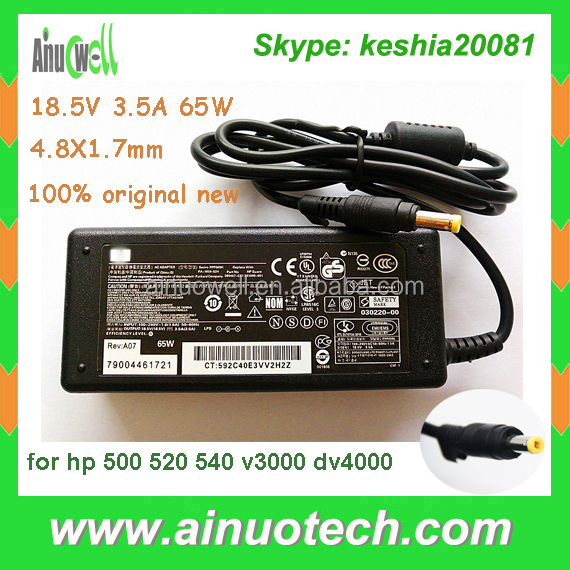 Charger use for 500 520 540 v3000 nc4000 DV4000 N600 laptop ac adapter for HP 18.5V 3.5A 65W 4.8*1.7mm small yellow head
