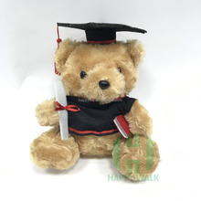 Cashmere Sitting plush Graduation Teddy Bear with Cap and Gown stuffed graduated animal Plush Toys