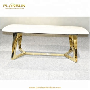 Modern design furniture polished stainless steel gold coffee table marble