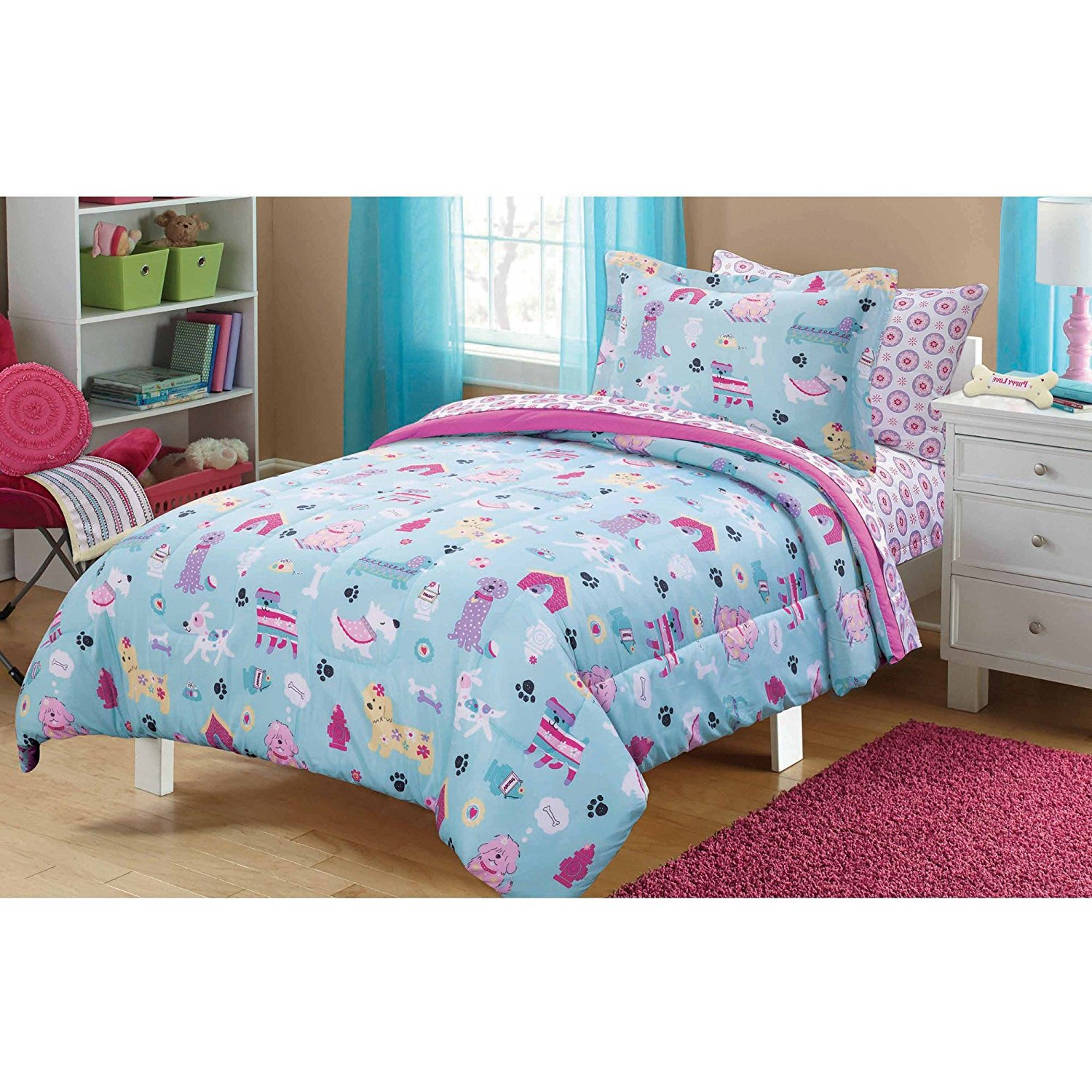 5 Piece Kids Puppies Dogs Comforter Twin, Cute Adorable Childrens Playful Dog Themed Bedding , Lovely Little Doggies Blue Teal White Pink, Doghouses Bones Treats, Pretty Puppy Bedding