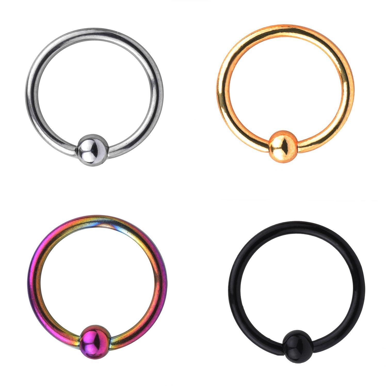 RJRK 16G Stainless Steel Nose Ring Hoop Septum Ring Cartilage Helix Ear Piercing 6mm