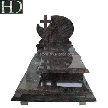 Aurora Polished Rose Carving Tombstone with Cheap Granite, Aurora Red Poland Style Tombstone Headstone Monuments