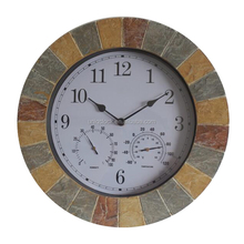 Indoor/outdoor resin wall clock with thermometer & hygrometer