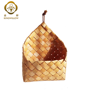 wholesale handmade small wooden hanging storage basket