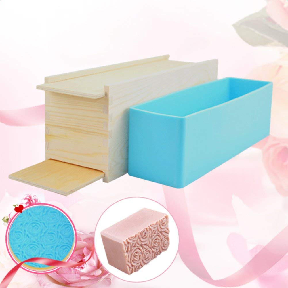 Soap Mold,Sundlight Rectangular Soap Making Silicone Molds Rose Pattern,Wood Box and Double Cover DIY Craft Tool for Soap Cake Making,28.3cm x10cm x 9cm