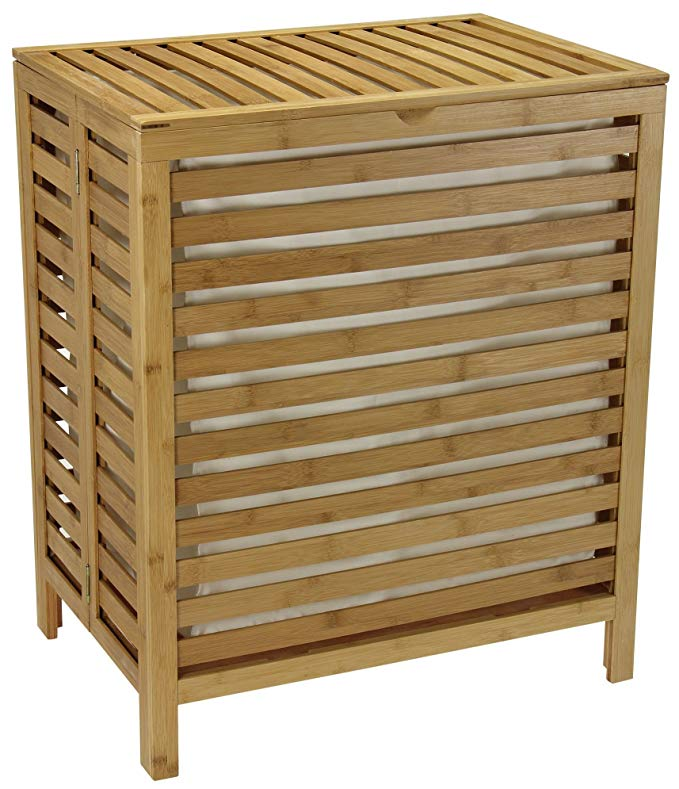 100% natural eco friendly bamboo foldable laundry basket with lid