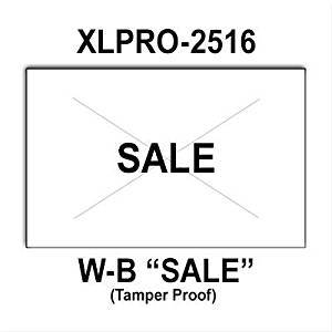 "168,000 XLPro 2516 compatible ""Sale"" White General Purpose Labels to fit the XLPRO-25EE, XLPRO-25EEA, XLPRO-25EEAA, XLPRO-25EC, XLPRO-265P Price Guns. Full Case and includes 8 ink rollers."